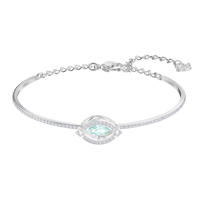 Swarovski Sparkling Dance Bangle, Green, Rhodium plated