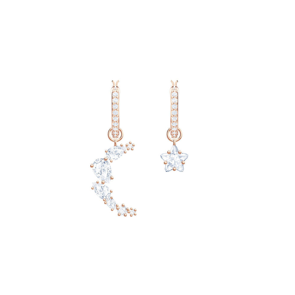 Penélope Cruz Moonsun Drop Earrings, White, Rose gold plating