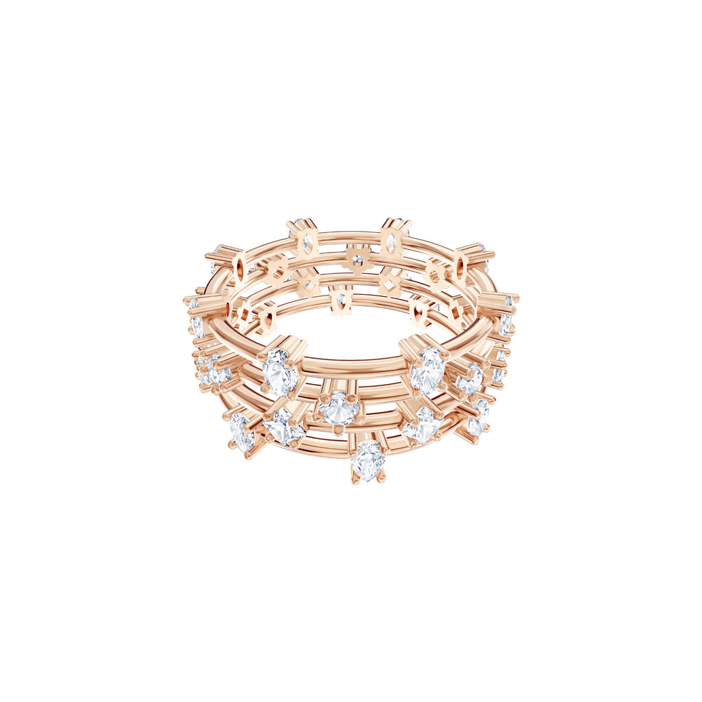Penélope Cruz Moonsun Cluster Ring, White, Rose gold plating