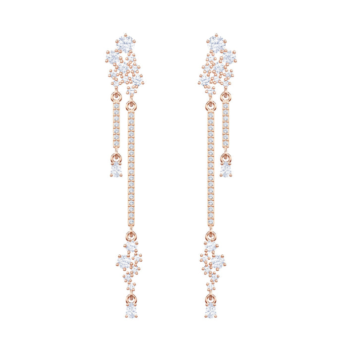 Swarovski Penélope Cruz Moonsun Long Drop Earrings, White, Rose gold plating