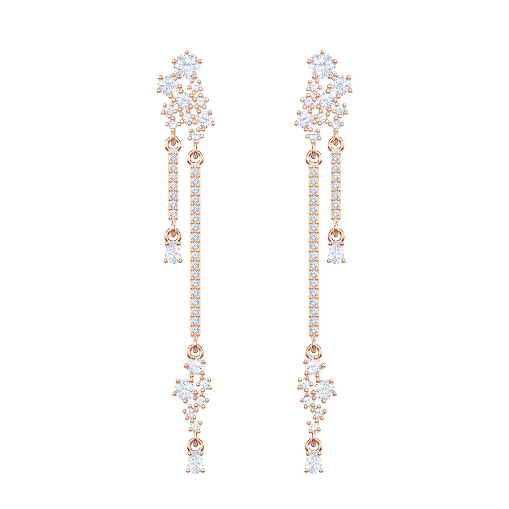 Penélope Cruz Moonsun Long Drop Earrings, White, Rose gold plating