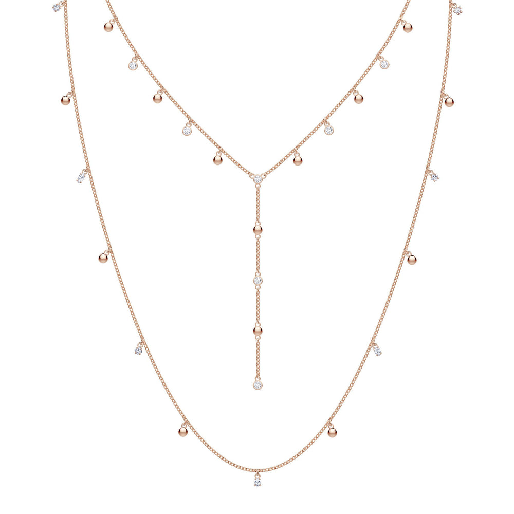 Penélope Cruz Moonsun Long Necklace, White, Rose gold plating