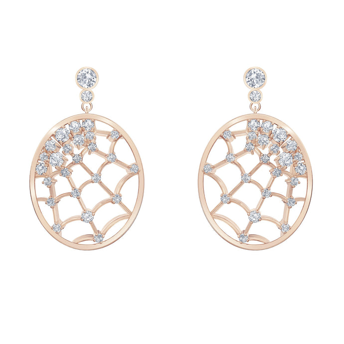 Swarovski Precisely Drop Pierced Earrings, White, Rose-gold tone plated