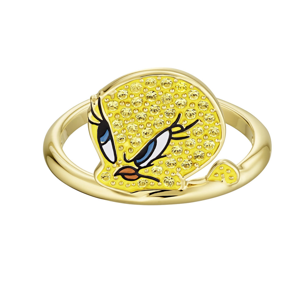 Looney Tunes Tweety Motif Ring, Yellow, Gold-tone plated
