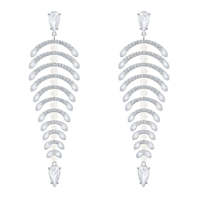 Swarovski Polar Bestiary Chandelier Pierced Earrings, White, Rhodium plated