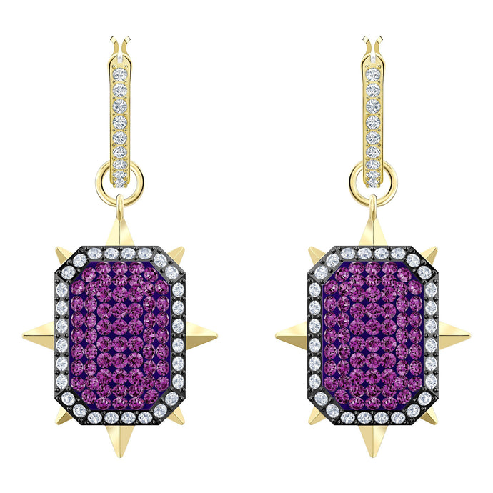 Swarovski Tarot Magic Hoop Pierced Earrings, Purple, Gold-tone plated