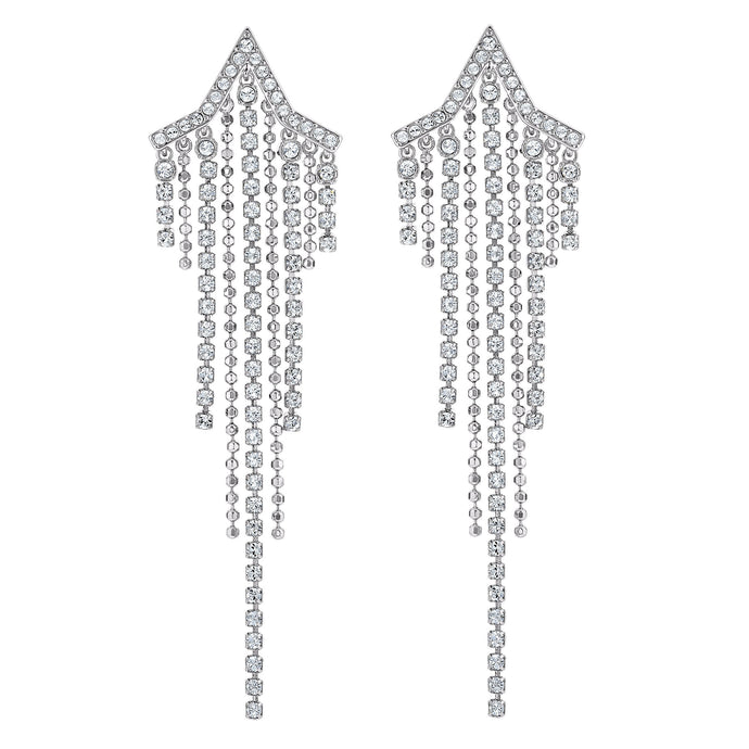 Swarovski Fit Star Pierced Tassell Earrings, White, Rhodium plated