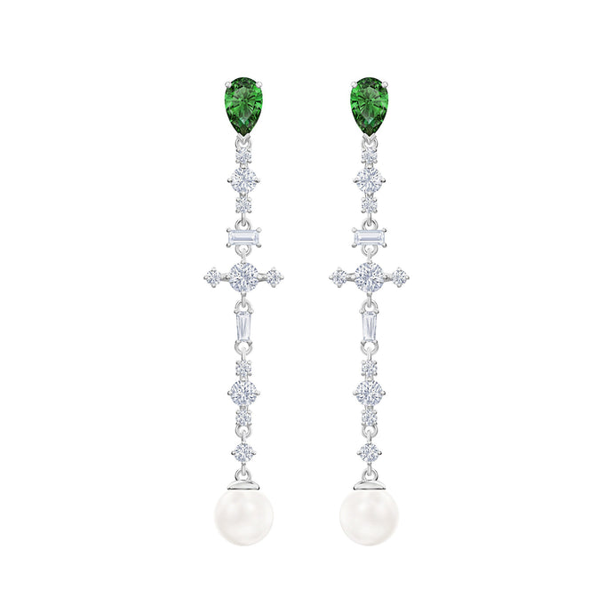 Swarovski Perfection Pierced Earrings, Green, Rhodium plated