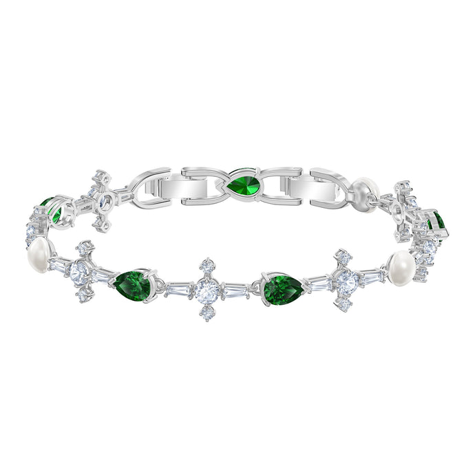 Swarovski Perfection Bracelet, Green, Rhodium plated