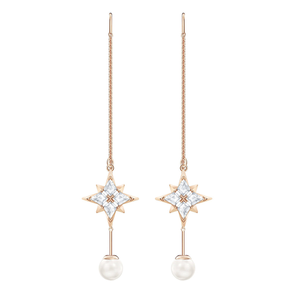 Swarovski Swarovski Symbolic Chain Pierced Earrings, White, Rose-gold tone plated