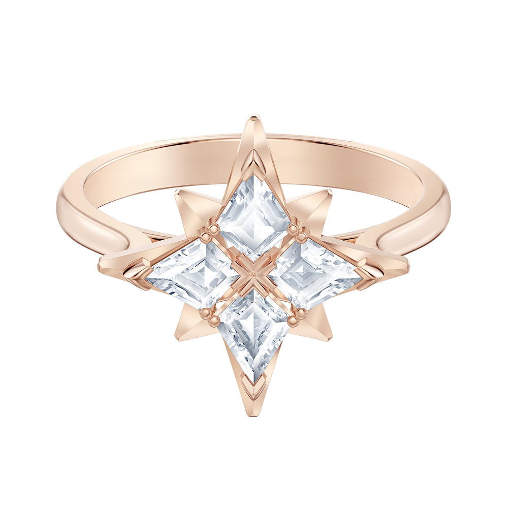 Swarovski Swarovski Symbolic Star Motif Ring, White, Rose-gold tone plated