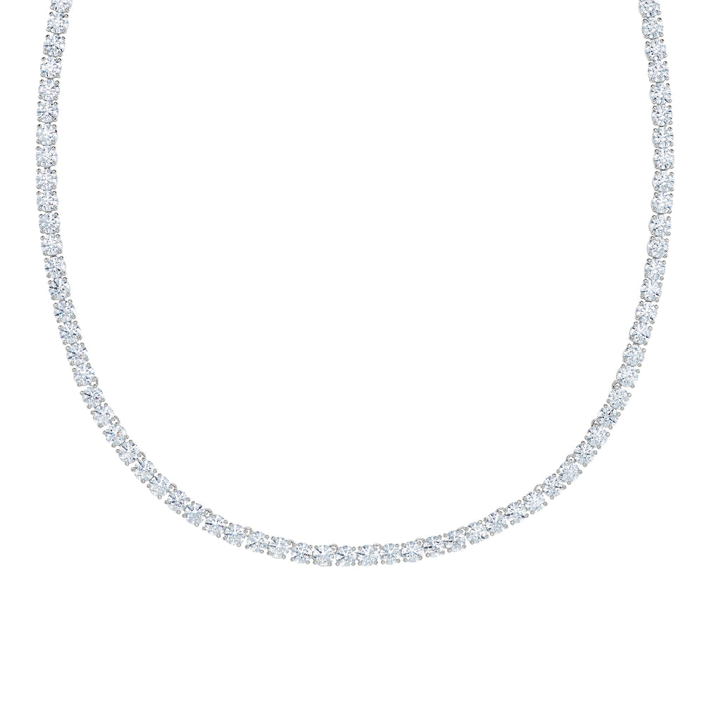 Swarovski Tennis Deluxe Necklace, White, Rhodium plated