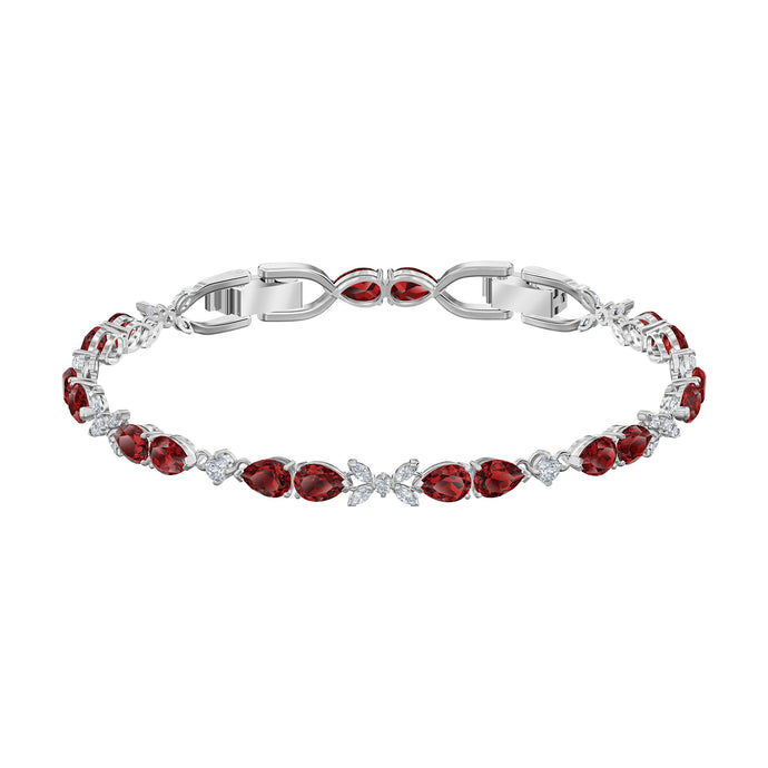 Swarovski Louison Bracelet, Red, Rhodium plated