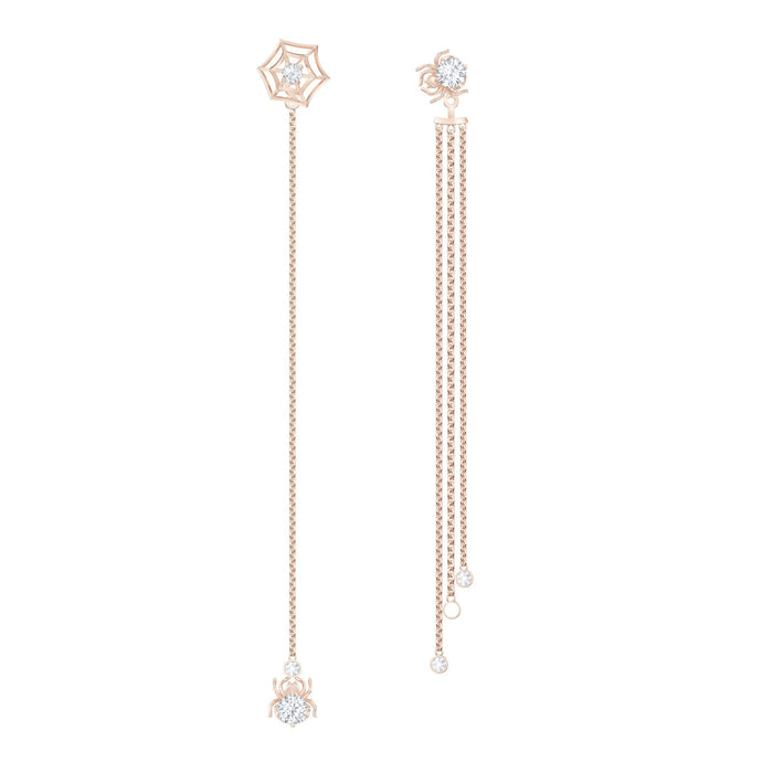 Swarovski Precisely Pierced Earrings, White, Rose-gold tone plated