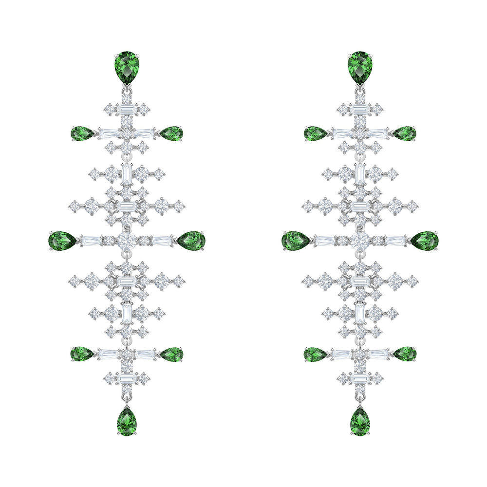Perfection Chandelier Pierced Earrings, Green, Rhodium plated