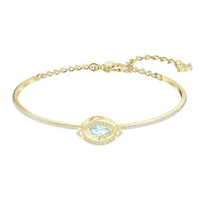 Swarovski Sparkling Dance Bangle, Green, Gold-tone plated