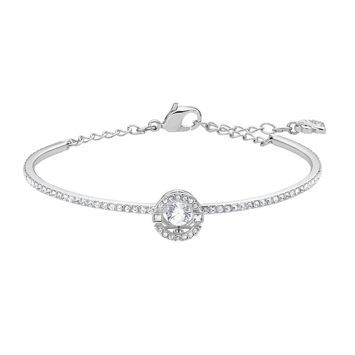 Swarovski Sparkling Dance Bangle, White, Rhodium plated