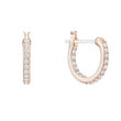 Load image into Gallery viewer, Swarovski Naughty Hoop Pierced Earrings, White, Rose-gold tone plated