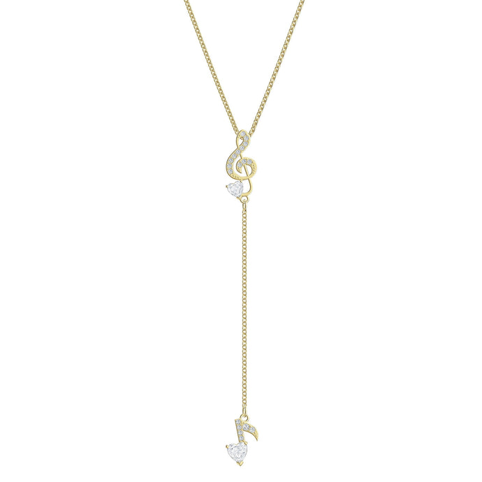 Swarovski Pleasant Y Necklace, White, Gold-tone plated