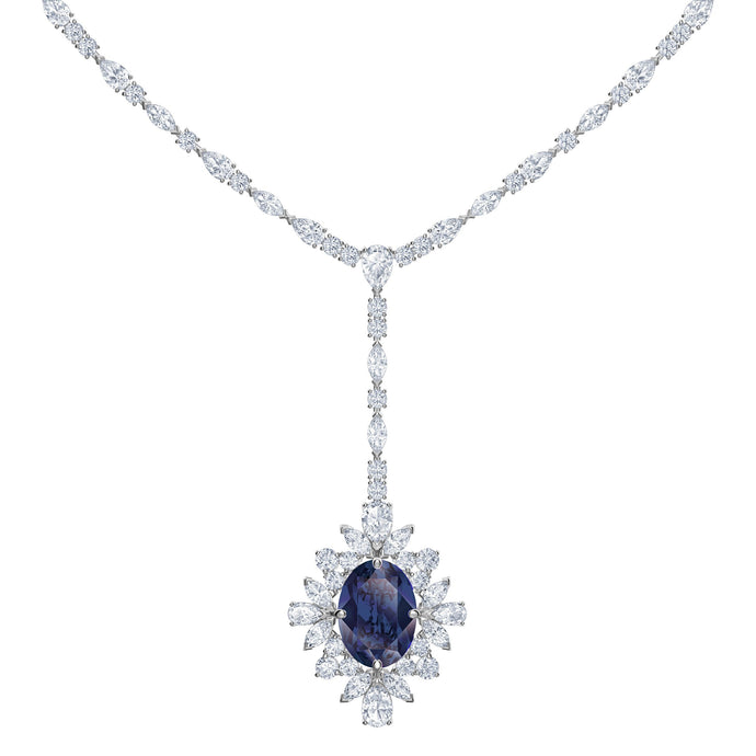 Swarovski Palace Y Necklace, Blue, Rhodium plated