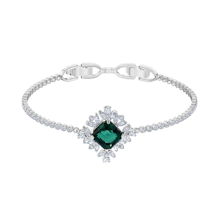 Swarovski Palace Bracelet, Green, Rhodium plated