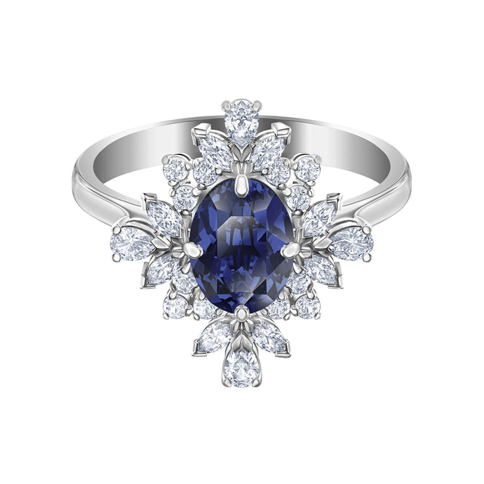 Swarovski Palace Motif Ring, Blue, Rhodium plated