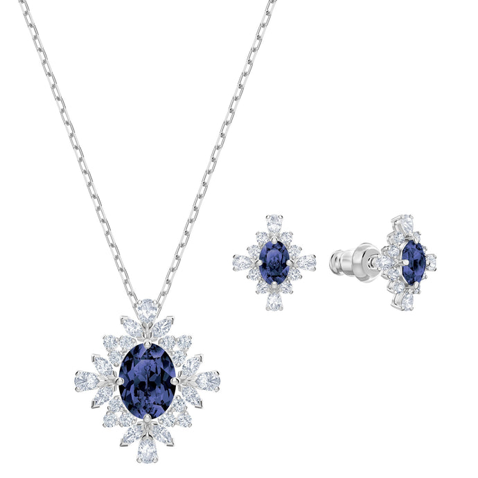 Swarovski Palace Set, Blue, Rhodium plated