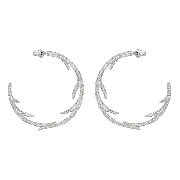 Swarovski Polar Bestiary Hoop Pierced Earrings, Multi-colored, Rhodium plated