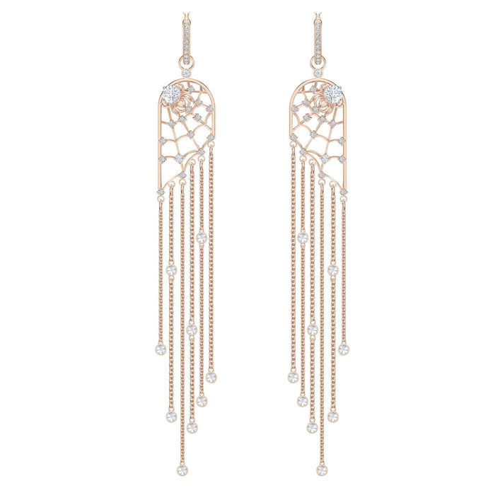 Swarovski Precisely Chandelier Pierced Earrings, White, Rose-gold tone plated