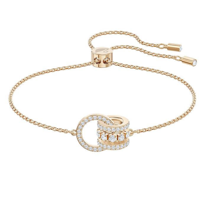 Swarovski Further Bracelet, White, Rose-gold tone plated