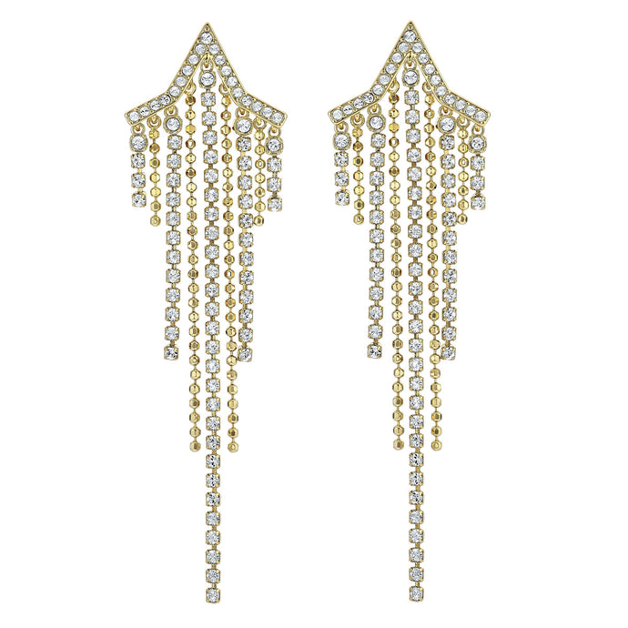 Swarovski Fit Star Pierced Tassell Earrings, White, Gold-tone plated
