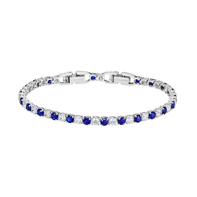 Tennis Deluxe Bracelet, Blue, Rhodium plated