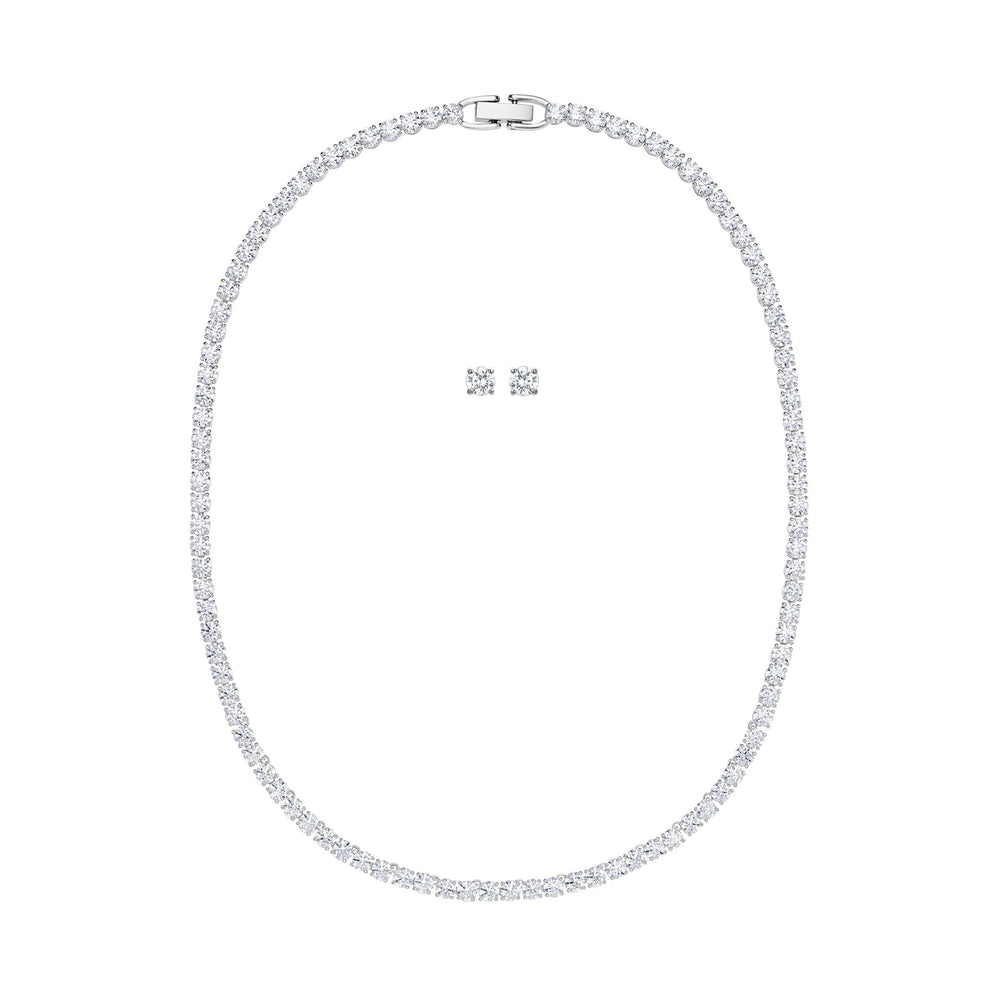 Swarovski Tennis Deluxe Set, White, Rhodium plated