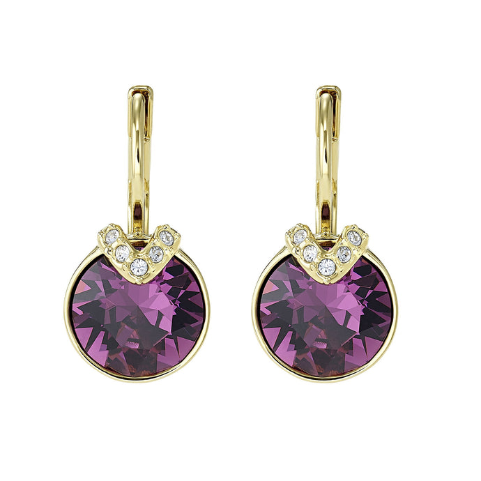 Swarovski Bella V Pierced Earrings, Purple, Gold-tone plated