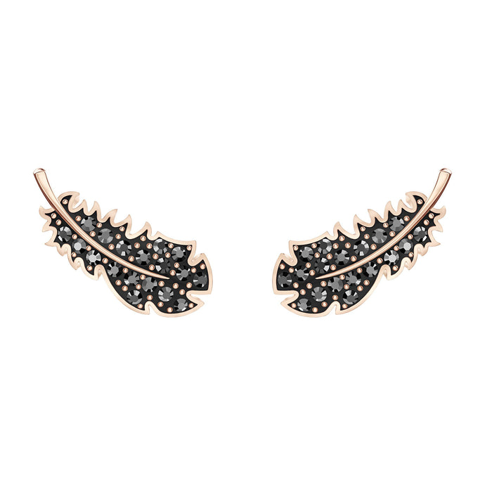 Swarovski Naughty Pierced Earrings, Black, Rose-gold tone plated