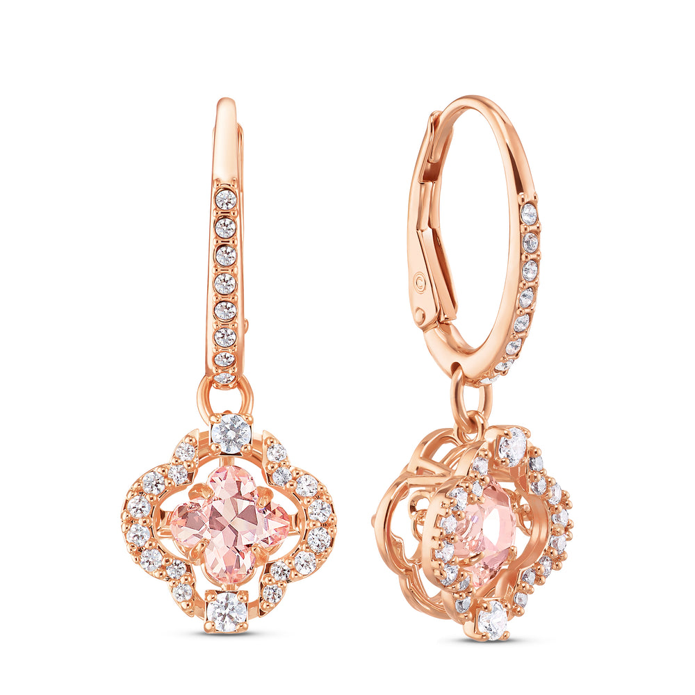 Swarovski Sparkling Dance Clover Pierced Earrings, Pink, Rose-gold tone plated