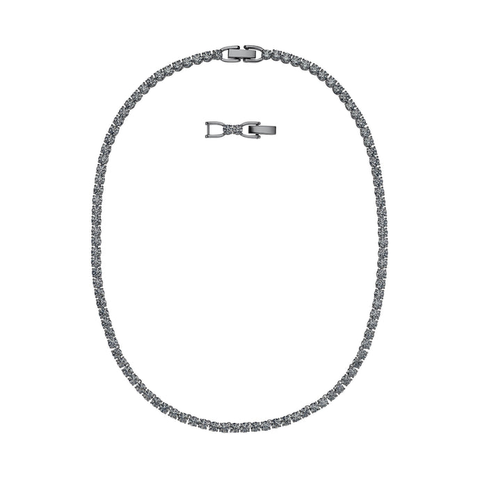 Swarovski Tennis Deluxe Necklace, Gray, Ruthenium plated
