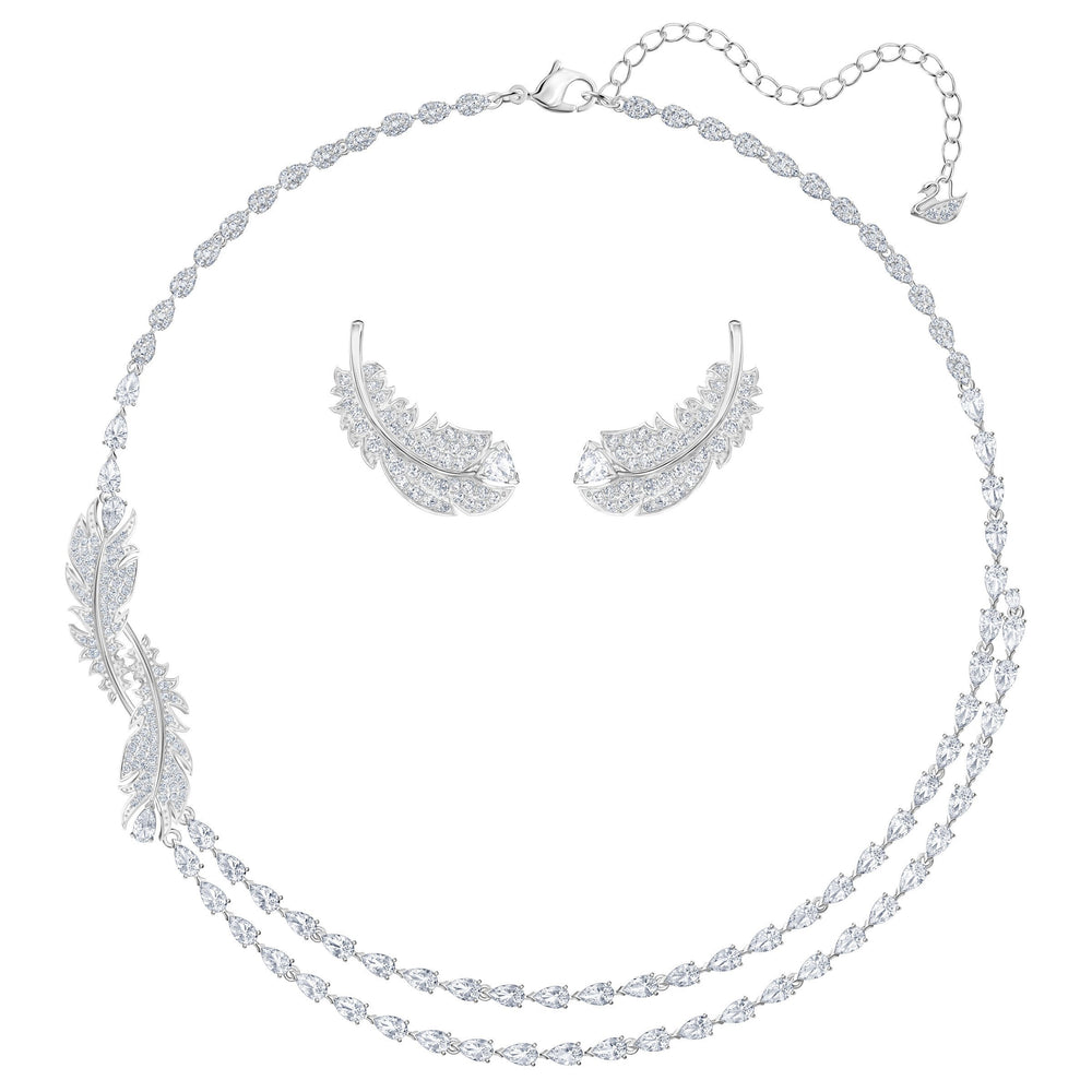 Swarovski Nice Set, White, Rhodium plated