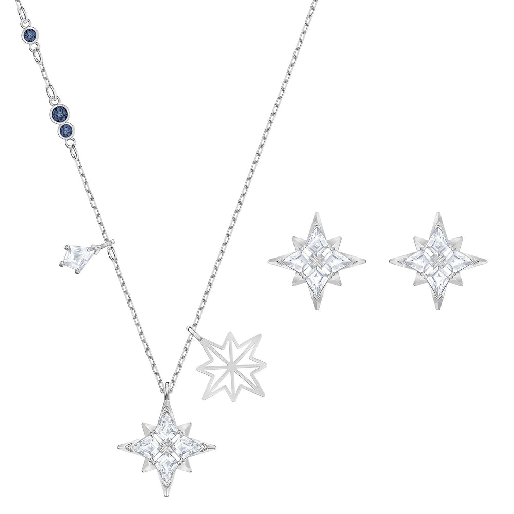 Swarovski Swarovski Symbol Star Set, White, Rhodium plated