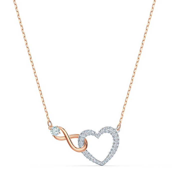 Swarovski Infinity Heart Necklace, White, Mixed metal finishing