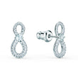 Load image into Gallery viewer, Swarovski Infinity Mini Pierced Earrings, White, Rhodium plated