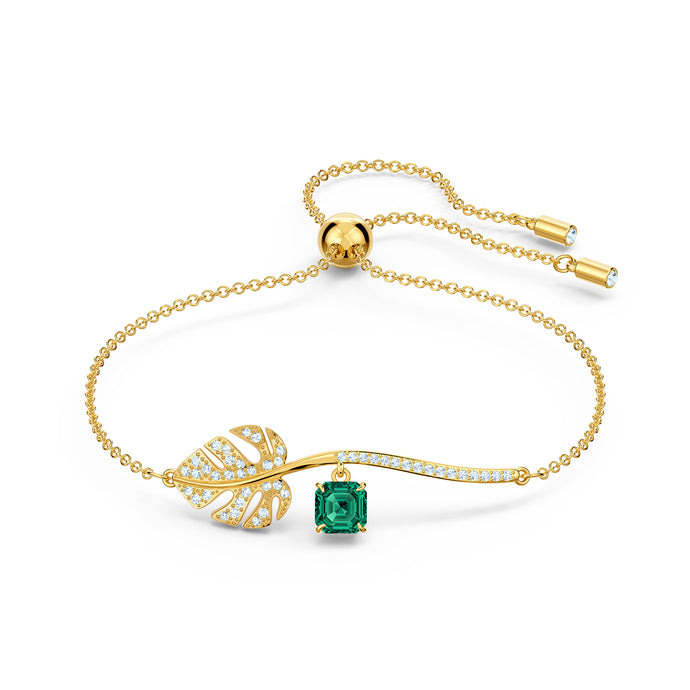 Tropical Bracelet, Green, Gold-tone plated