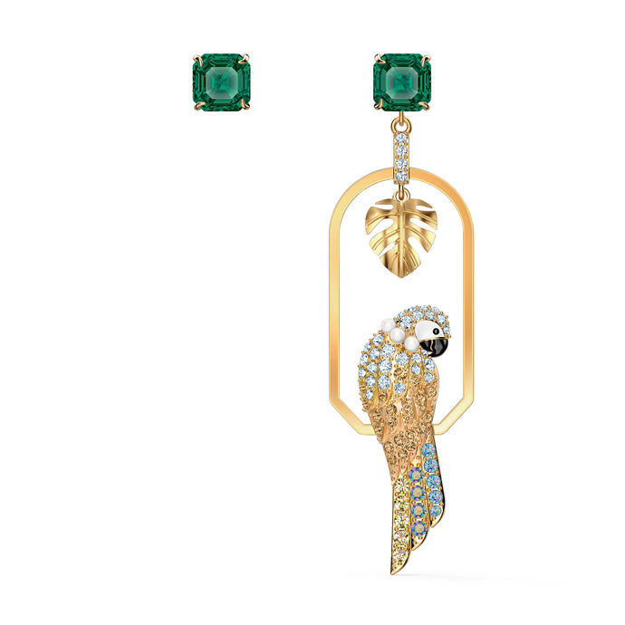 Tropical Parrot Pierced Earrings, Light multi-colored Green, Gold-tone plated
