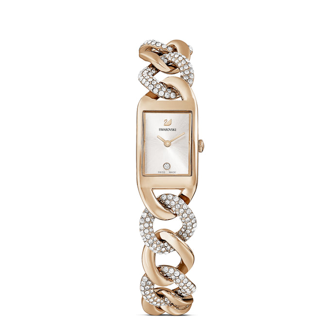 Cocktail Watch, Metal bracelet, Gold tone, Champagne-gold tone PVD