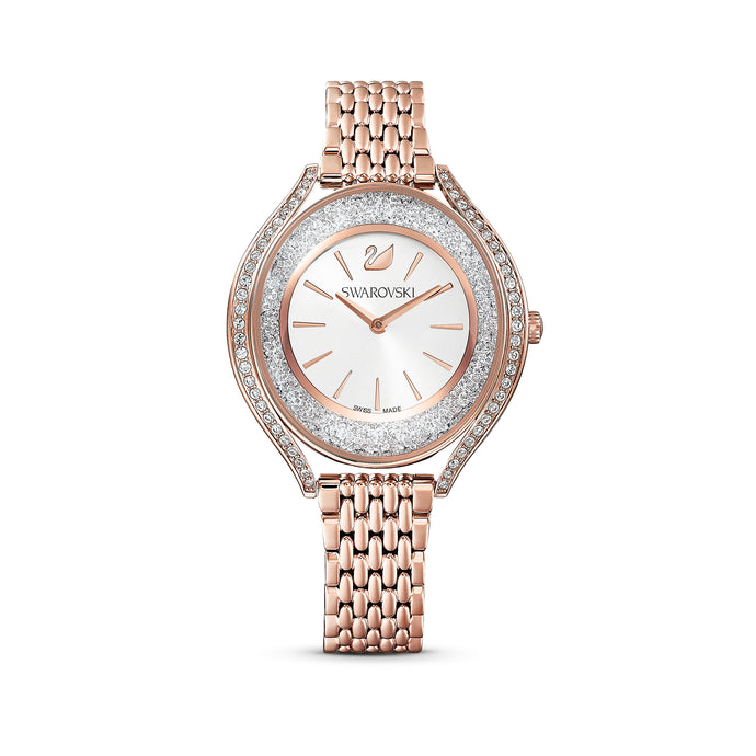Crystalline Aura Watch, Metal Bracelet, Rose gold tone, Rose-gold tone PVD