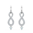 قم بتحميل الصورة في عارض الصور ، Swarovski Infinity Pierced Earrings, White, Rhodium plated