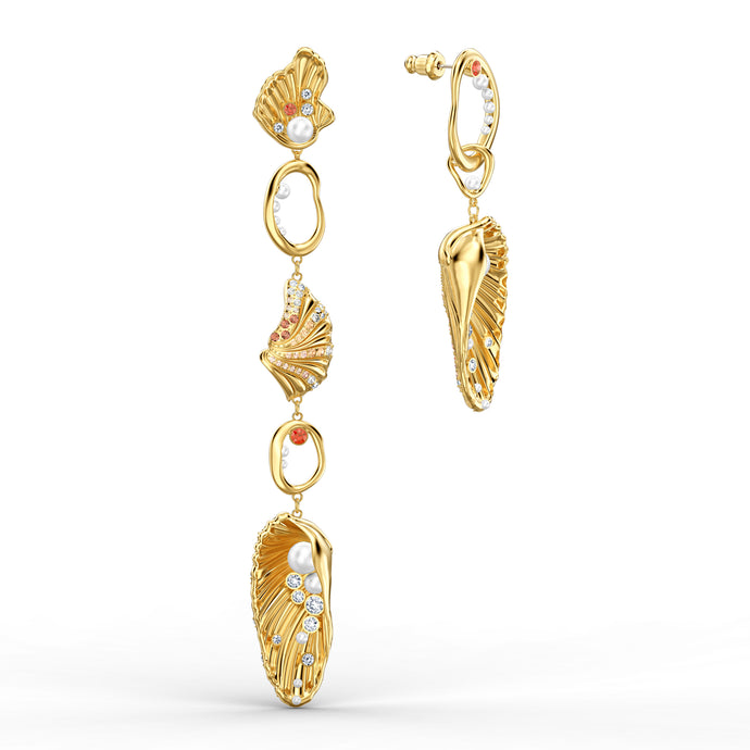 Shell Angel Pierced Earrings, Light multi-colored, Gold-tone plated