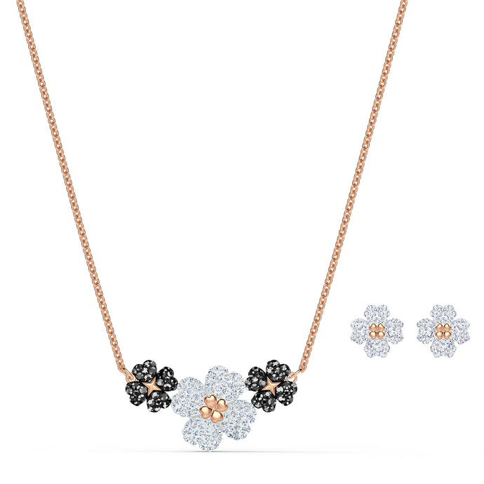 Latisha Set, Black, Rose-gold tone plated