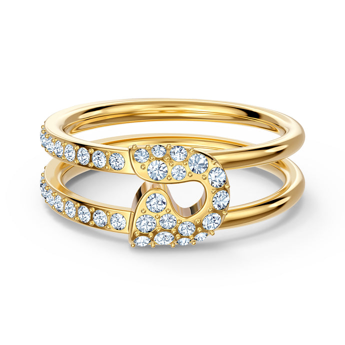 So Cool Pin Ring, White, Gold-tone plated