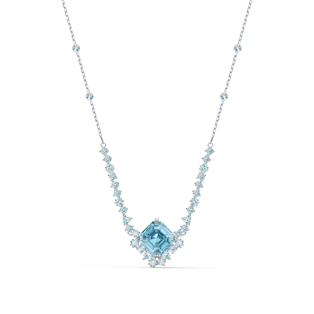 Sparkling Necklace, Aqua, Rhodium plating
